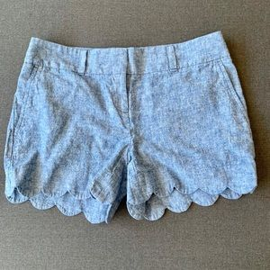 """Loft Outlet 4"""" Chambray Scallop Shorts NWOT"""